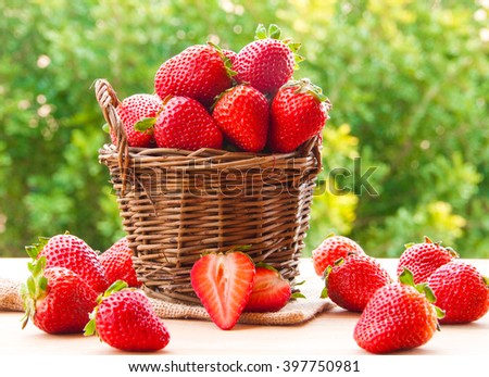 Fresh ripe strawberries in basket