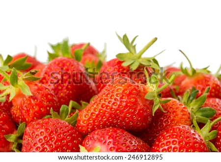 Fresh ripe strawberries on a white background - stock photo