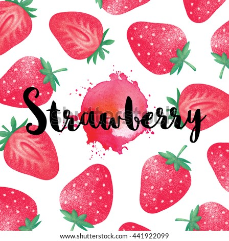 Fresh ripe strawberries with leaves. Red stains Abstract paint splashes. Different styles of strawberries on white background. - stock photo