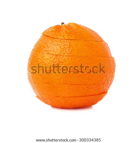 Fresh ripe tangerine cut in slices isolated over the white background - stock photo