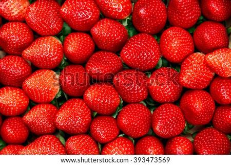 Fresh ripe tasty Strawberry background - stock photo