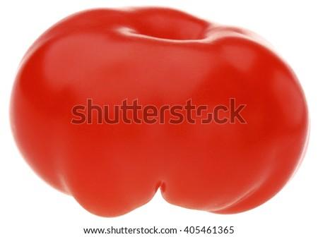 Fresh ripe Tomato isolated on a white background.  Original view. - stock photo