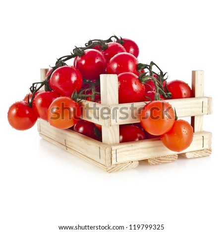 fresh ripe tomatoes in a wooden crate isolate on a white background