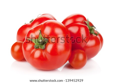 Fresh ripe tomatoes. Isolated on white background - stock photo