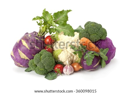 fresh , ripe vegetables and cabbage isolated on white background. - stock photo