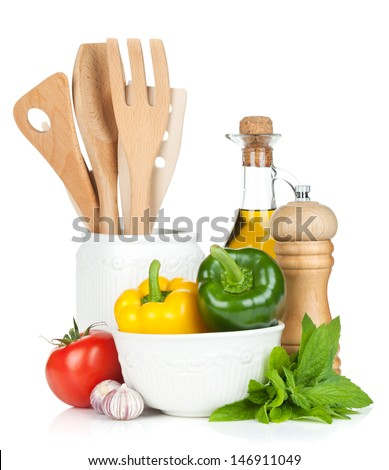 Fresh ripe vegetables, condiments and kitchen utensils. Isolated on white background - stock photo