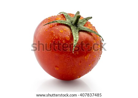 Fresh ripe wattled tomato isolated on white background