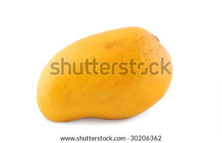Fresh ripe yellow mango isolated on white - stock photo