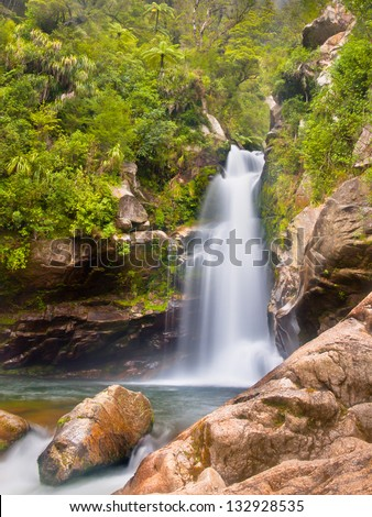 Fresh River Stream at Wanui Falls in the Mountains of Abel Tasman National Park, South Island, New Zealand - stock photo