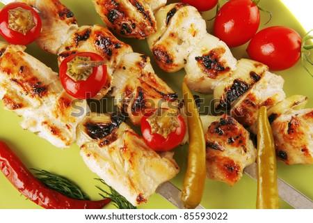 fresh roast chicken shish kebab on green platter - stock photo