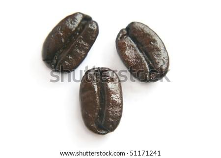 Fresh roasted coffee beans isolated on white - stock photo