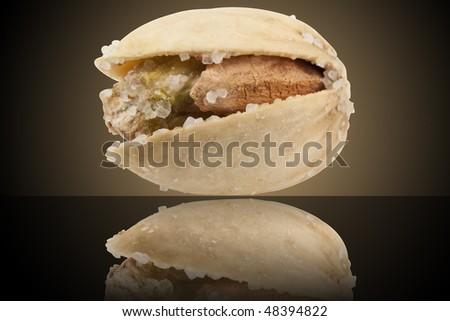 fresh roasted pistachio closeup on white background - stock photo