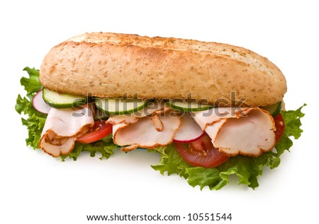 Fresh roasted turkey/chicken sandwich with lettuce, tomatoes, cucumbers and radishes isolated on white - stock photo