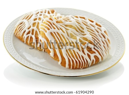 fresh rolls on a plate - stock photo