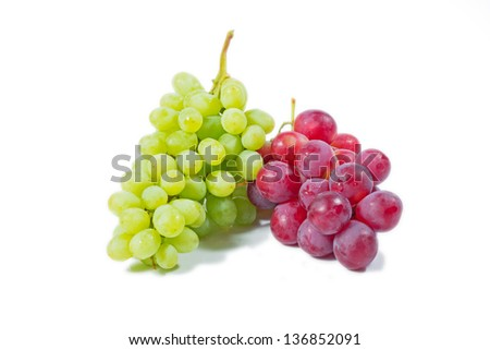 fresh rose and green grapes isolated on white - stock photo
