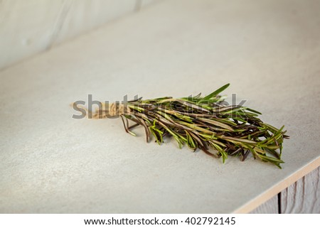 Fresh Rosemary bound on a white background - stock photo