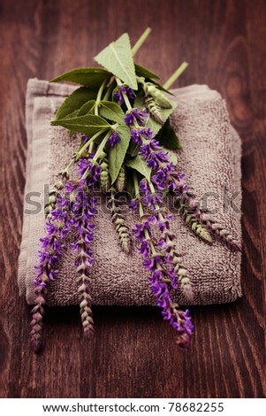 fresh sage flowers and towel - beauty treatment - stock photo