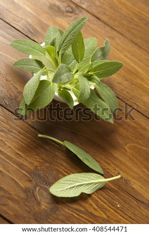 fresh sage on wooden table - stock photo