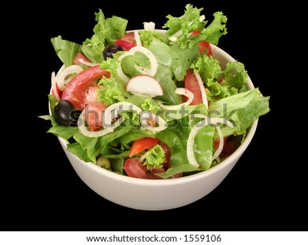 Fresh salad and tomato - stock photo