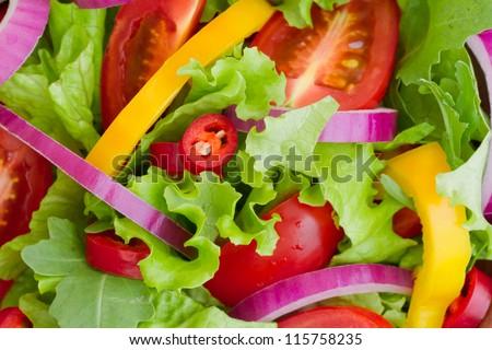 Fresh Salad close-up - stock photo