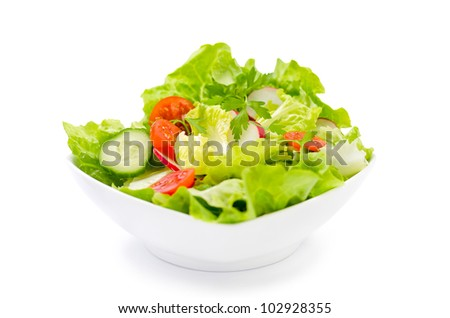 fresh salad in a white plate - stock photo