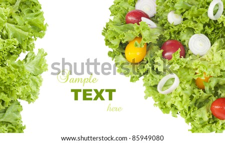 Fresh salad over white with text sample - stock photo