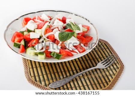 fresh salad plate isolated - stock photo