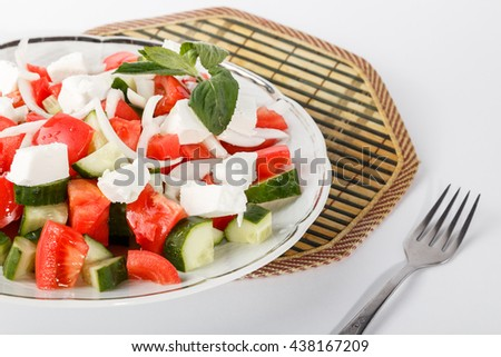 fresh salad plate isolated - Horderves Plates