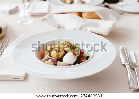 fresh salad plate with mozzarella cheese - stock photo
