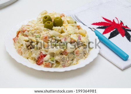 fresh salad with background