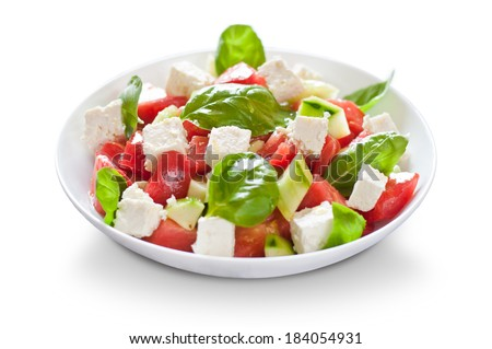 fresh salad with basil and feta cheese - stock photo
