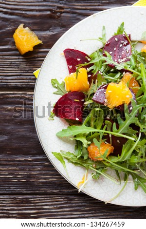 fresh salad with beets and oranges, food - stock photo