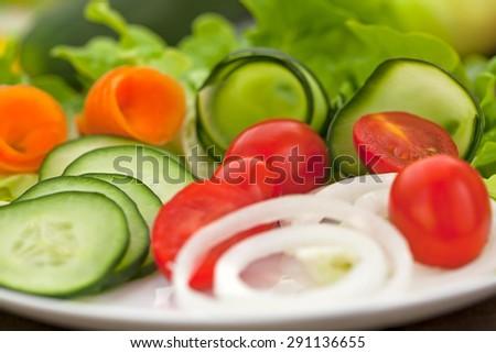 Fresh salad with cherry tomato - stock photo