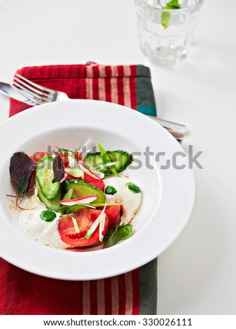 Fresh salad with cucumber, basil, tomatoes