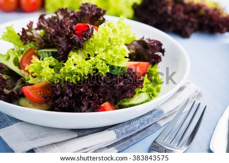 Fresh salad with green and purple lettuce, tomatoes and cucumbers on blue wooden background close up. Healthy food. - stock photo
