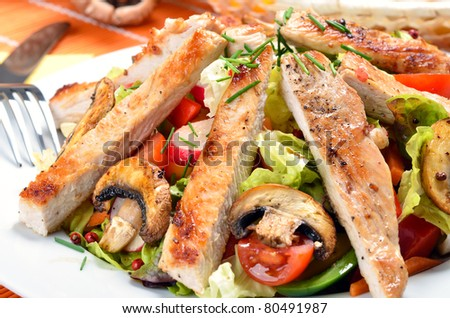 Fresh salad with grilled turkey stripes - stock photo