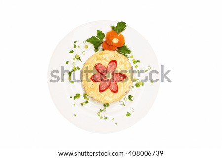 Fresh salad with mayonnaise, sausage,  potatoes, pepper isolated over white background - stock photo