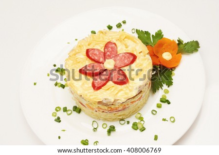 Fresh salad with mayonnaise, sausage,  potatoes, pepper over grey background - stock photo