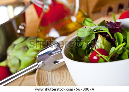 fresh salad with organic ingredients. - stock photo