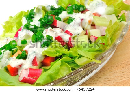 fresh salad with radishes, lettuce, celery and peppers topped with chive yogurt sauce on a glass plate - stock photo