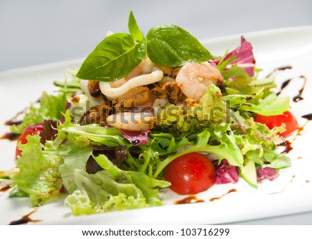 Fresh salad with seafood and tomatow - stock photo