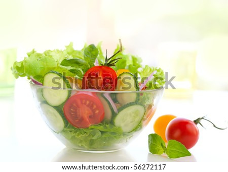 fresh salad with tomato and cucumber - stock photo