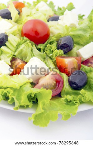 fresh salad with tomato and lettuce