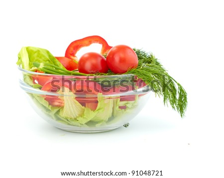 fresh salad with tomato and paprika