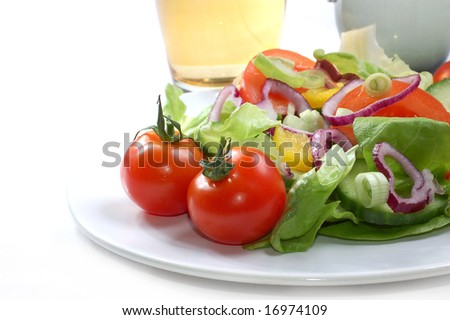 Fresh salad with tomatoes, high resolution image