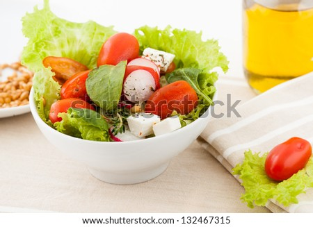 fresh salad  with wheat germ and oil