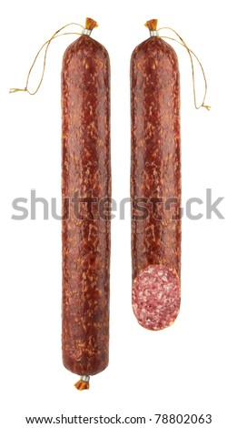 fresh salami isolated on white background - stock photo
