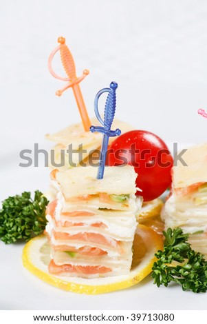 Fresh salmon and cream cheese canapes - stock photo