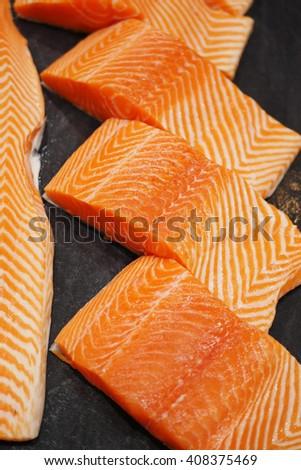 fresh salmon fillet - stock photo