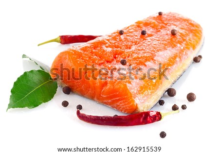 fresh salmon fillet with salt and spice isolated on white background - stock photo